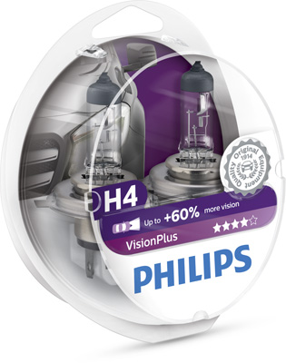 КРУШКА H4 VisionPlus 12V 60/55W P43t-38 PHILIPS