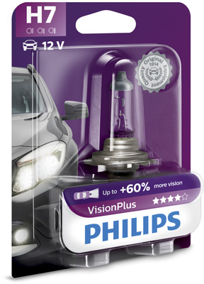 КРУШКА H7 VisionPlus+60 12V 55W PX26d PHILIPS