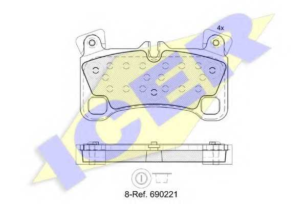 комплект спирачно феродо, дискови спирачки ICER